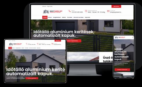 Kaputechnika és kerítésgyártással foglalkozó válallkozás részére honlapkészítés