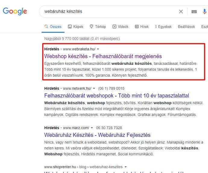 Így jelenik meg a hirdetésed a Google Ads segítségével a találati listában.