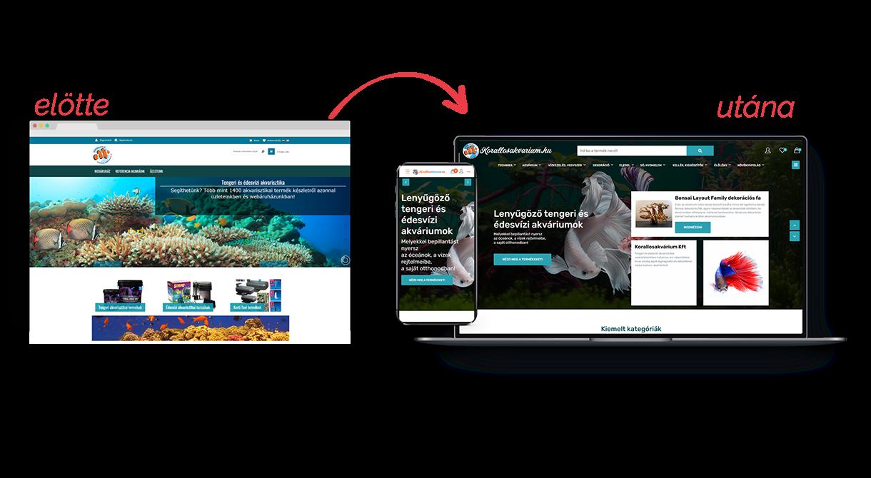 Korallosakvárium webáruház átalakítása