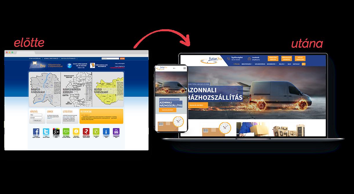 Futár.hu weboldal átalakítása