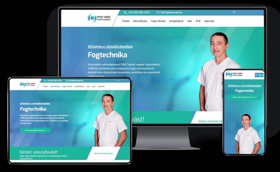 Fogtechnikai weboldal készítése